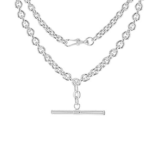 Tuscany Silver Women's Sterling Silver 31mm x 2.6mm T-Bar 4.6mm Belcher Chain Albert Clasp Necklace 46cm/18'