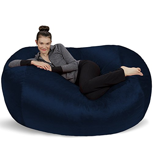 Sofa Sack - Plush Bean Bag Sofas with Super Soft Microsuede Cover - XL Memory Foam Stuffed Lounger Chairs for Kids, Adults, Couples - Jumbo Bean Bag Chair Furniture - Navy 6'