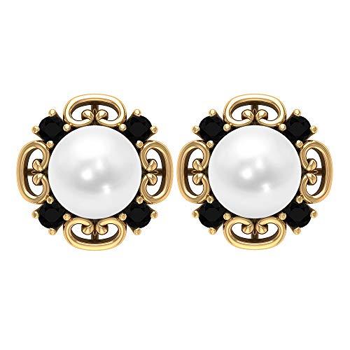 Pendientes vintage, piedras preciosas de 6,24 quilates, perlas de 7 mm, pendientes de ónix negro de 2 mm, joyas de gemas naturales, 18K Oro amarillo, Par