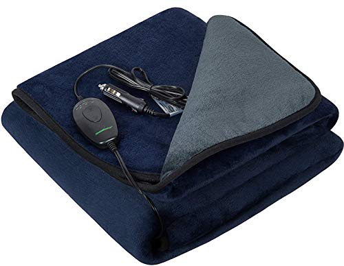"iHealthComfort 12Volt Washable Electric Heated Travel Blanket with Intelligent Hi/M/Lo Temp 30/45/60 mins Auto-Off Timer Multi-Functional Controller(55.1""x39.4"")(Navy Blue and Grey)"