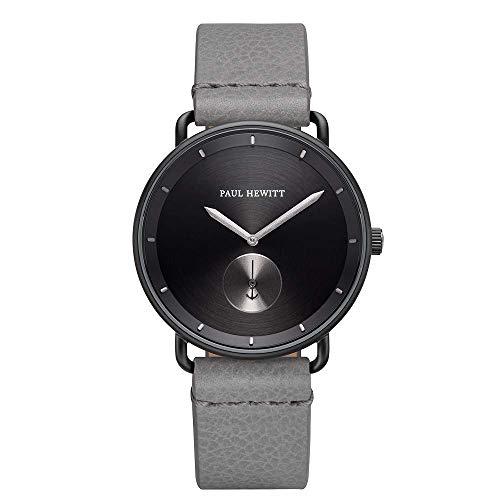 PAUL HEWITT Armbanduhr Männer Edelstahl Breakwater Black Sunray - Herren Uhr Lederarmband (Grau), Schwarze Herren Armbanduhr, schwarzes Ziffernblatt