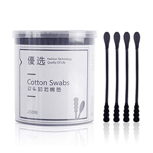200pcs / Pack tampons de Coton jetables,Coton-Tige à tête Double Ecouvillons cosmétiques Oreille Propre avec boîte de Rangement, pour Extension orale/Cils 7,5 cm Noir