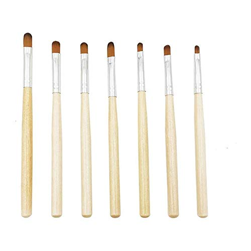 Yuyanshop 7-teiliges Gel-Nagelpinsel-Set für Nagelspitzen, Builder und Overlay, Poly-Verlängerungsgel-Pinsel, Nailart-Tips Builder Pinsel, Nagelmalerei Pinselstift