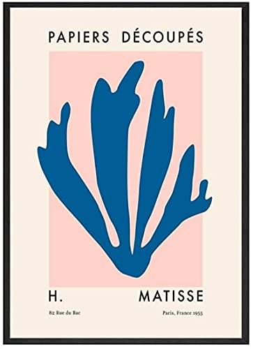 YaShengZhuangShi Magnífico Cuadro 70x90cm Sin Marco Matisse Azul Verde Beige Rosa Naranja Arte de la Pared Carteles e Impresiones Pinturas de Lienzo sin Marco abstractas nórdicas para el hogar