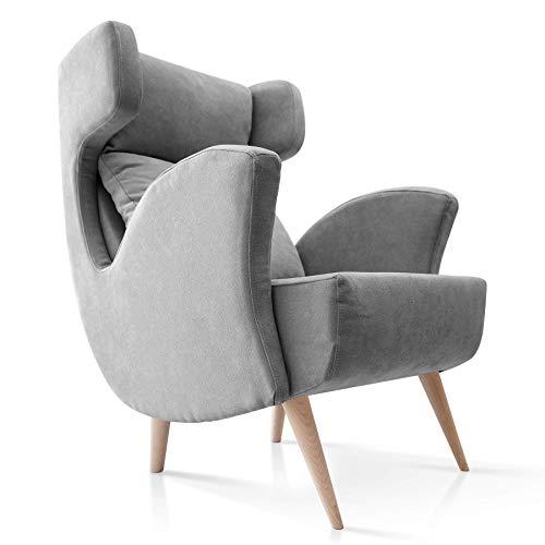 SUENOSZZZ-ESPECIALISTAS DEL DESCANSO Butacas Orejeras Escandinavo Sillones Modernos Butaca tapizado en Tela Antimanchas Color Gris Sillon Sofa Individual