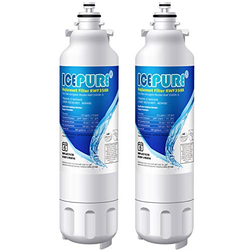 ADQ73613401 Refrigerator Water Filter Replacement by ICEPURE, Compatible with LG LT800P, ADQ73613402, ADQ73613403,Kenmore 9490,469490,LSXS26326S,LMXC23746S, LMXC23746D, LSXS26366S(2 PACK)