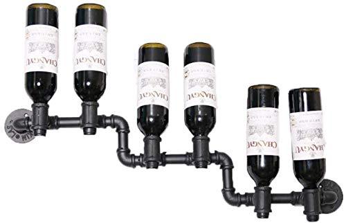 Estantería de vino Estante de vino Artículos para el hogar Rack de vino 5 Botellas Invertir Inserción Pared Cuelga Botellas de vino Tenedor forjado Hierro de metal Tubería de agua Estante de vino Pant
