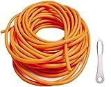Goma Tirachinas Slingshot Tubo, 10m 3x6Mm Banda Elástica de Repuesto Elástica para la Práctica de Tiro con Hondas de Caza con una Herramienta de Enlace de Asistencia (3060,Orange)