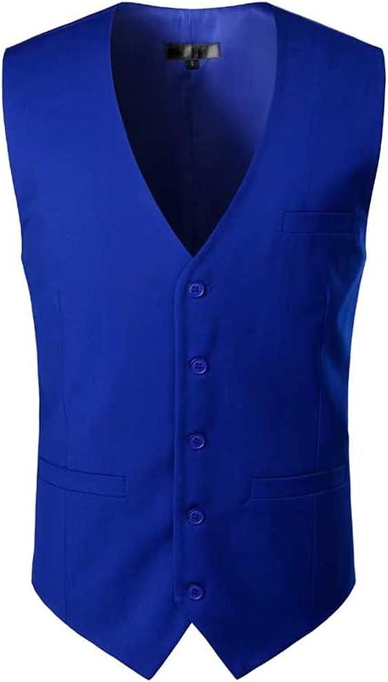 YFQHDD Mens Dress Suit Vest Sleeveless Vests Waistcoat Men Formal Business Wedding Vests Male Gilet Homme (Color : Blue, Size : S code)