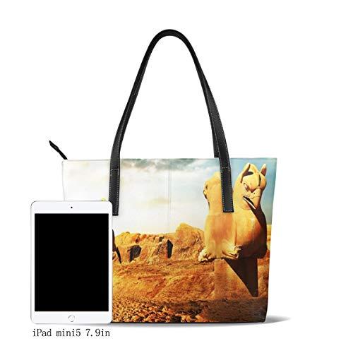 OMNVEQ Bolso De Mano Grande para Mujer Esculturas Persas Grifos Tote Bag Shopper Cuero De La PU Bolso De Hombro Gran Capacidad Bolso De Compras Asa Larga