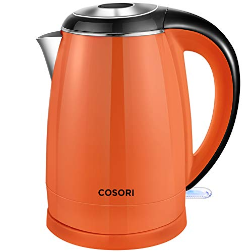 Electric Kettle, COSORI 1.8 Qt Tea Kettle, Double Wall 304 Stainless Steel BPA Free Hot Water Boiler, Auto Shut-Off and Boil-Dry Protection, Cordless, ETL/CETL Approved