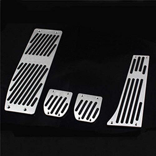 HZHAOWEI Pedaliera in Alluminio per Auto Set Pedali per Auto Copertura Adatta per BMW Serie 3 Nuova Serie 1 X1 M3 E30 E36 E39 E46 E87 E90 E91 E92 E93-Argento 4 Pezzi per MT