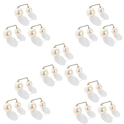 N / A 15 Pcs Fashion Simulated Pearl Anti-Glare Brooch, Sweater Shawl Clip Double Faux Pearl Brooches Safety Pins, Scarf Buckle Pearl Brooch for Women (White)
