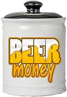 Cottage Creek Beer Gifts Round Ceramic Beer Money Jar/Funny Beer Gifts Bar Gifts Beer Lover Gifts [White]