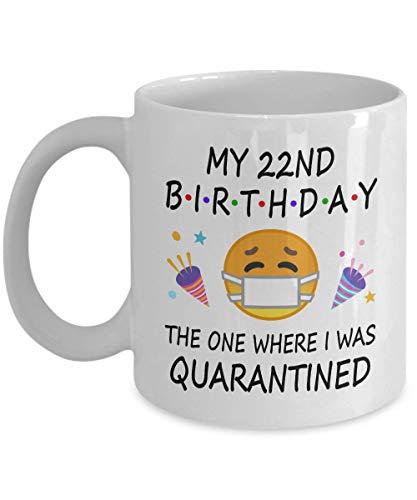 22º cumpleaños cuarentena 2020 para hombres y mujeres él ella | Regalos para fiesta de 22 años para niños y niñas | 1998 | Taza de café blanca de 325 ml D216-22