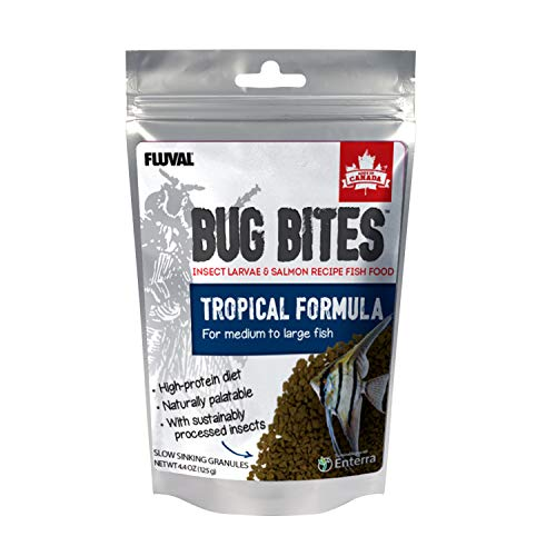 Fluval Bug Bites Tropical Fish Large Granules 4.4 oz, A6579, Brown