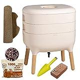 Urbalive Ivory, Kit completo I Design Wormery I 500gr de Compost Worms I Starter sustrate I tapete de cáñamo + pala I Interior, balcón y jardín