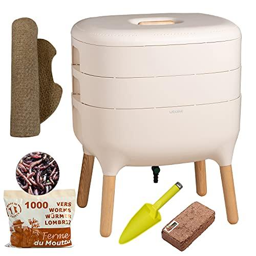 Urbalive Ivoor, Complete Kit I Wormenbak Design I 500gr Compostwormen I Startersubstraat I Hennepmat + Schep I Binnen…