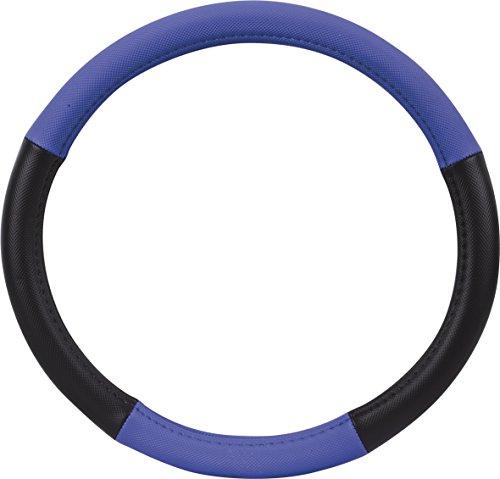 Preisvergleich Produktbild hr-imotion Design Lenkradbezug für Lenkräder zwischen 37 bis 39 cm Durchmesser in schwarz / blau [5 Jahre Garantie / Griffsicher / Schweißregulierend / Design in Germany] - 10811001
