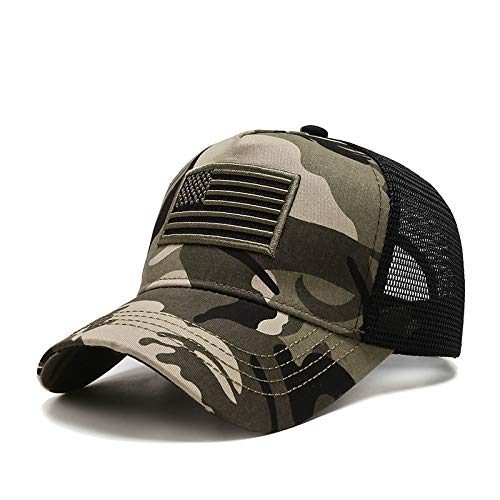 Uphily Army Camo US American Flag Trucker Cap - Camouflage Mid Profile Curved Bill Patriotic Mesh Dad Hat for Men or Women