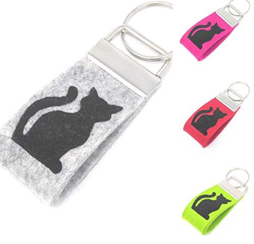 MIKALENI Schlüsselanhänger Katze Farbwahl Wollfilz Mini klein kurz