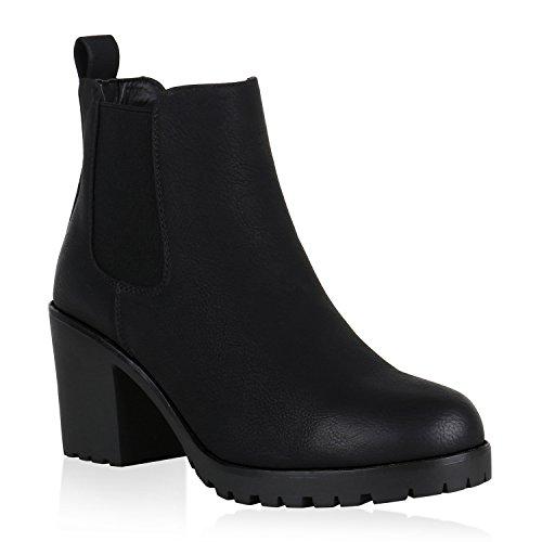 Damen Stiefeletten Leicht Gefütterte Chelsea Boots Blockabsatz 148715 Schwarz 39 Flandell