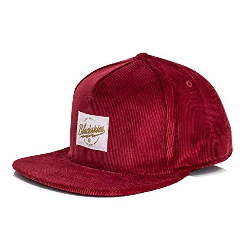 Blackskies Crimson Snapback Cap | Damen Herren Baseball Mütze Kappe Surfer Skater Basecap Weinrot Kord
