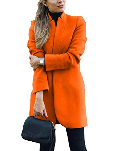 Onsoyours Damen Blazer Winter Revers Wollmantel Trench Jacke Lange Parka Overcoat Outwear Elegant Langarm Blazer Steppmantel Einfarbig Slim Fit Orange 46
