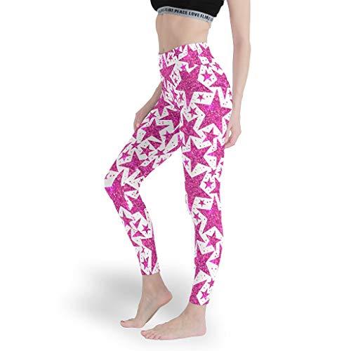 superyu Stretch-Leggings mit Sternenhimmel-Motiv, bunt, für Workout, Weiß, Größe M