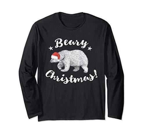 Beary Christmas Cute Polar Bear In Santa Hat Long Sleeve T-Shirt