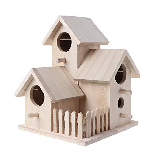KINTRADE Creativo Casetta per Uccelli in Legno per Allevamento Casetta per nidificazione Alimentazione Nido Giardino Cortile Pendente Simulazione Recinzione Decorazione per casetta per Uccelli