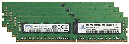 Samsung Original 32GB (4x 8GB) Server Speicher-Upgrade für HP Z440Workstation DDR42133MHz, PC4–17000ECC Registered Chip 1RX4CL151,2V DRAM-adamanta