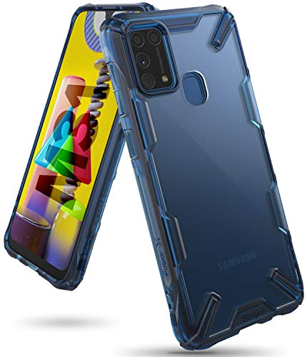 Ringke Fusion-X for Samsung Galaxy M31 Case Back Cover [Military Drop Tested] Transparent Hard PC Back TPU Bumper Impact Resistant Protection for Galaxy M31 Back Cover Case - Space Blue