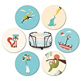 Absorbent Ceramic Coasters for Drinks, funny Cartoon Animal for cup mat, child baby, Birthday Housewarming gift, Creative Diatomite cup mat Set, Cork Base, Cup holders for Decor,Mats, Set of 6 (4')