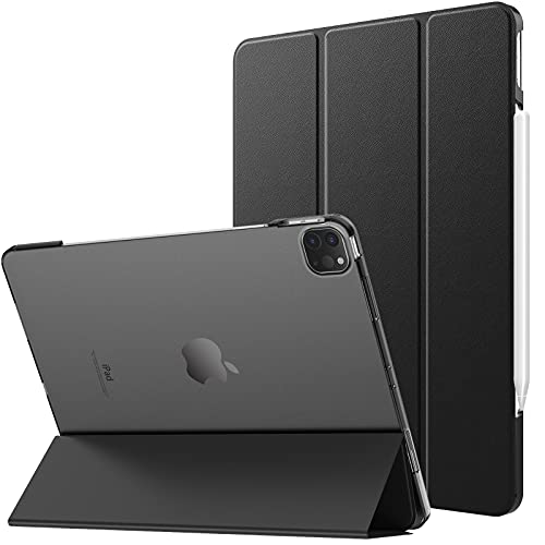 MoKo Cover compatibile con iPad Pro 12.9 2021 Tablet, Retro Trasparente Rigido Ultra Sottile Leggero Custodia in Tri-fold con Auto Sveglia / Sonno, Nero