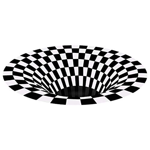 Blivener Round Area Rug, Durable Anti-Slip Floor Mat Non-Woven Black White Plaid Doormat, Checkered 3D Vortex Optical Illusions Mats for Living Dining Room Bedroom Kitchen 31.5in