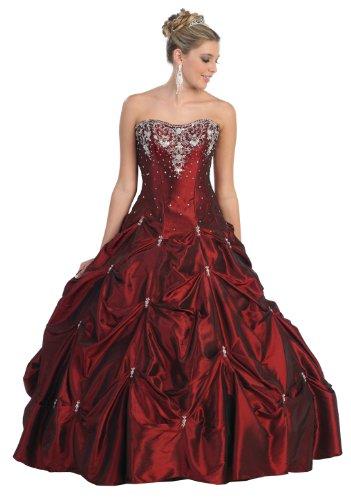 Big Sale Ball Gown Strapless Formal Prom Wedding Dress #714 (14, Burgundy)