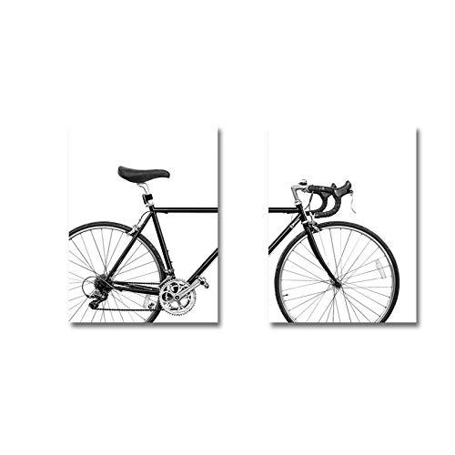 CUTMG Wandkunst Leinwandbilder Schwarz und Weiß Nordic Minimalist Bike Print Fahrrad Poster Bilder Home Wanddekoration 50 x 70 cm (19,6