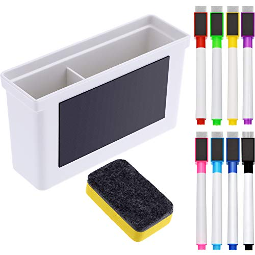 Boao Whiteboard Magnetic Plastic Holder, 8 Pieces Colorful Magnetic Markers with Eraser Cap, Magnetic Whiteboard Eraser for School Office Home, 10 Pieces Totally