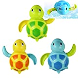 WedFeir 3pcs Bath Swimming Turtle Toy for Baby Toddler, Wind Up Chain Bathing Water Toy, Swimming Bathtub Pool Cute Swimming Turtle Toys for Boys Girls.