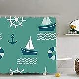 N / A Patrón sin Costuras Elementos de diseño náutico Fondos de Anclaje Texturas Tela de Barco Decoración de baño Set con Ganchos