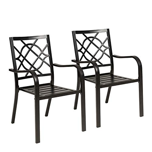 SUNCROWN 2 Pieces Wrought Iron Chairs Outdoor Dining Chairs Patio Metal Stack Chair for Backyard Garden