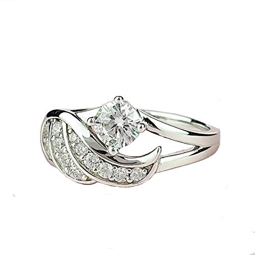 Richo Wedding Rings for Women, Cut Cz Cubic Zirconia 925 Sterling Silver Promise Engagement Ring Bridal Jewelry