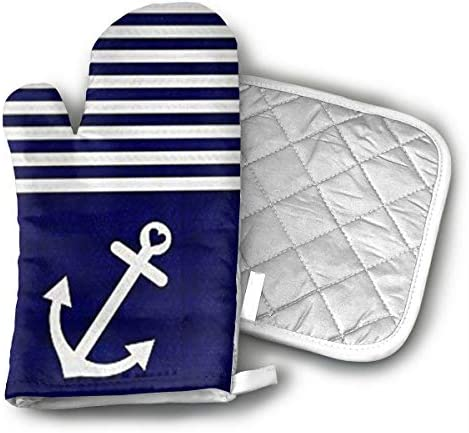 Navy Blue Love Anchor Nautical Oven Mitts and Potholders 2 Piece Sets Kitchen Set with Cotton product image