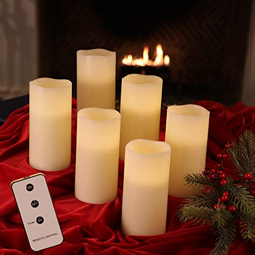 Set of 6 3x6 Ivory Wax Remote Controlled Battery Operated Flickering Candles with Remote and Batteries (Ivory, 6pk)