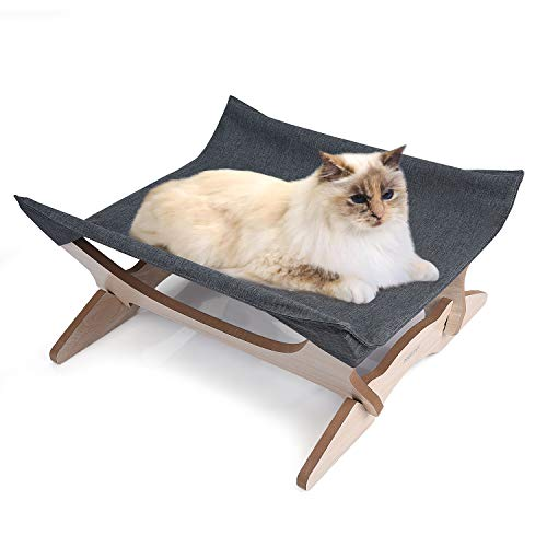 Elevated Cat Beds Cat Hammock Pet Cots Small Dog Beds Wooden Detachable Wooden Frame Square Hanging Cat Sofa Pet Furniture Sleeping Washable for Rabbit Cat Kitten Puppy Indoor/ Outdoor Sunshine grey