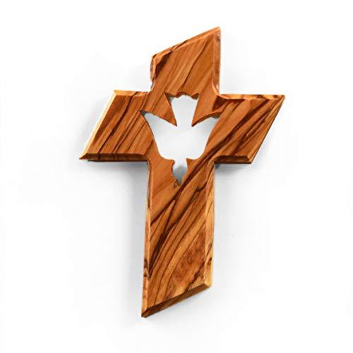 KASSIS Olivenholz Kreuz mit Taube als der Heilige Geist zum Aufhängen aus Bethlehem zur Firmung, Taufe, Kommunion 13 x 9 cm