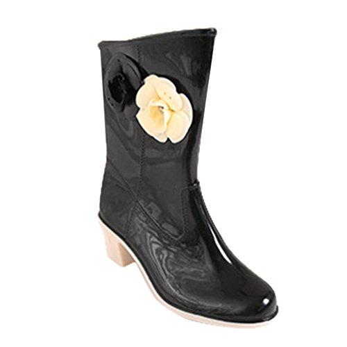 LvRao Damen Gummistiefel High Heels Wellington Wellies Halbschaft Blume wasserdichte Regen Schuhe Regenstiefe (Schwarz, CN 40 / EU 39)