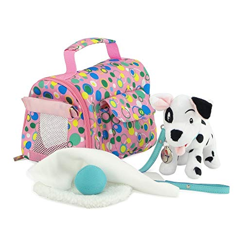 Emily Rose 18-inch Doll Accessories   Doll Puppy Set   101 Dalmatian-Inspired Patch Puppy with Pet Carrier with Dog Bed, Toy Ball and Play Bone   Fits American Girl Dolls -  Emily Rose Doll Clothes, INS3076