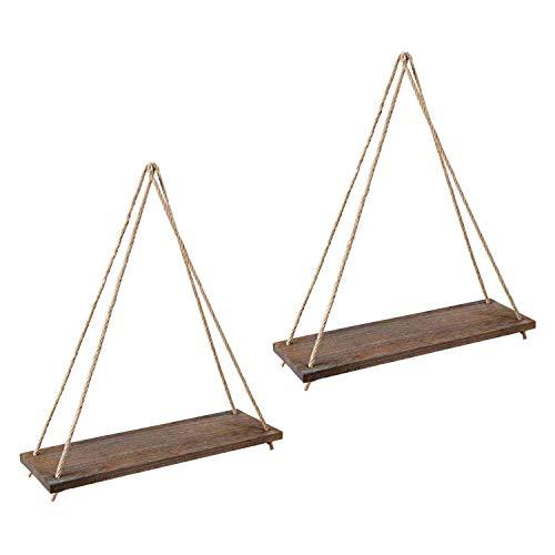 CESULIS - Mensola da parete in legno, stile rustico, da appendere, con 2 mensole da parete, per soggiorno, camera da letto, bagno, cucina, organizer